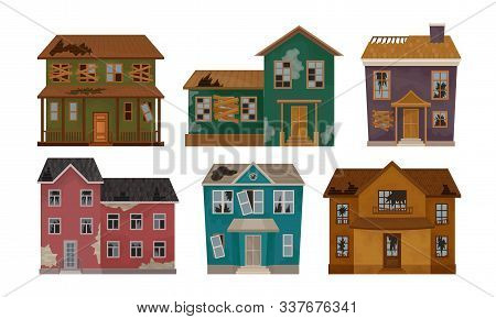 Old Abandoned Houses Collection, Facades Of One Storey And Two Storey Buildings With Broken Windows