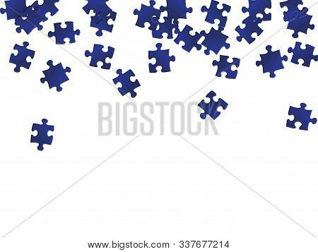 Business Crux Jigsaw Puzzle Dark Blue Pieces Vector Background. Top View Of Puzzle Pieces Isolated O