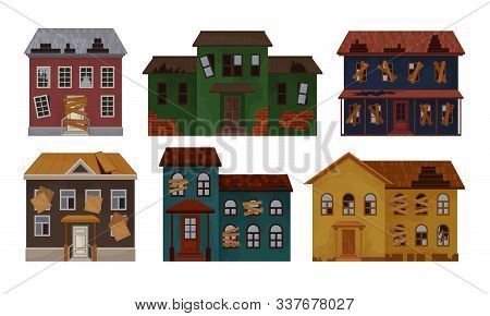 Old Abandoned Houses And Cottages Collection, Facades Of One Storey And Two Storey Houses With Broke