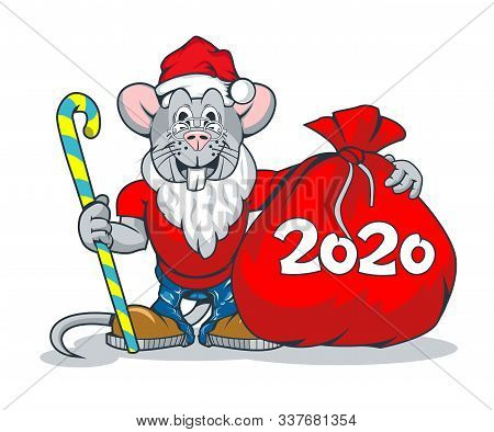 Happy Rats In Santa Claus Clothes And With A Big Bag Of Gifts With Numbers 2020 On It