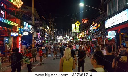 Tourists Waling On Bangla Road Walking Street At Night, Patong Phuket, Thailnad 17/11/2019