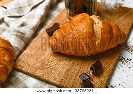 French Chocolate Croissants Top View. The Beginning Of The Morning. Fresh French Croissant. Coffee C