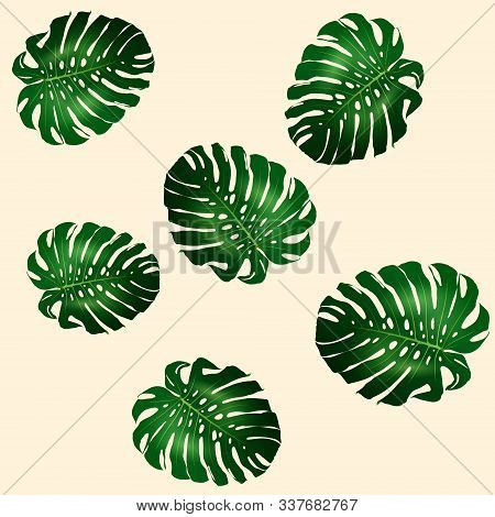 Seamless Pattern Of Beautiful Big Green Leaves Monstera Plant, Monstera On Yellow Background, Vector