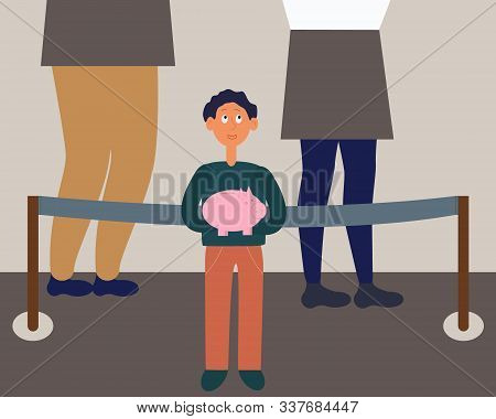 Little Child With Piggy Moneybox Savings In Bank Queue. Child Finance Education Concept. Flat Cartoo