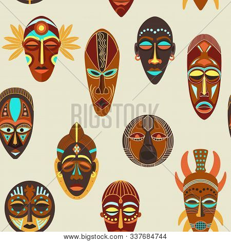 Seamless Pattern Flat Of Colorful African Ethnic Tribal Ritual Masks Of Different Shape Isolated On