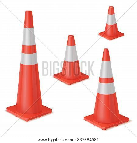 Red Realistic Road Plastic White Striped Shiny Cone. Equipment To Ensure Safe Movement During Road R