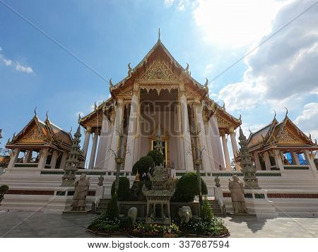 Beautiful Ancient Architecture Of Wat Suthat Thepwararam Buddhist Temple In Bangkok, Thailand
