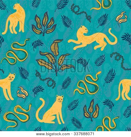 Hand Drawn Exotic Print. Seamless Pattern With Wild Cats, Snakes, Blackthorn And Tropical Leaves. Ve