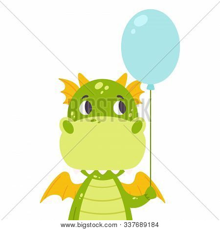 Cute Dragon With A Baloon. Festive Toothy Smiling Green Funny Dinosaur With Wings. Scandinavian Styl