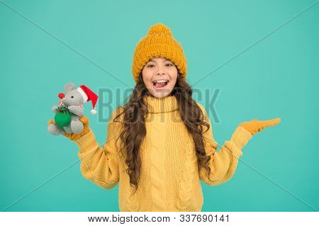 Toys Shop Concept. Girl Child Hold Rat Or Mouse Toy. Rat Symbol Year. Plush Toy. Happy Childhood. So