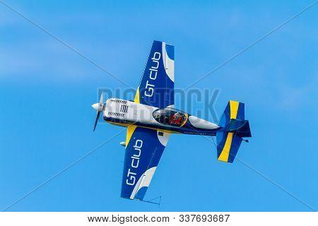 Cadiz, Spain-sep 09:  Aircraft Staudacher Of Jorge Macias Taking Part In An Exhibition On The 5th Ai