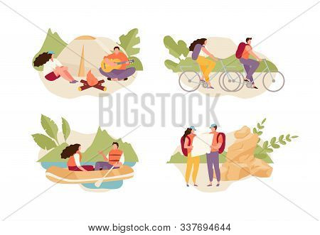 Tourists Couple Relaxing In Nature, Riding Bicycles, Boating, Camping. Ecotourism Vector Illustratio