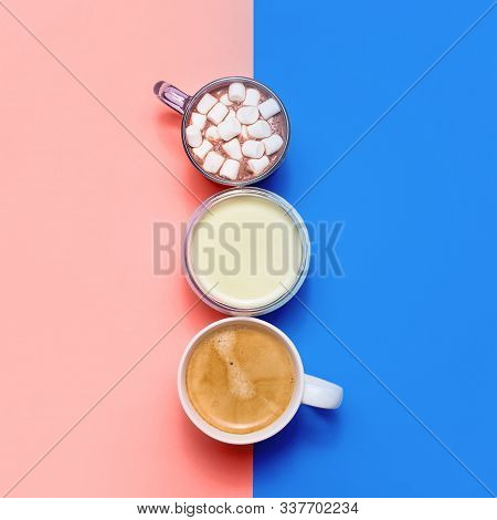 Classic Blue And Living Coral With Different Types Of Hot Drinks - Coffee, Matcha, Cocoa And White C
