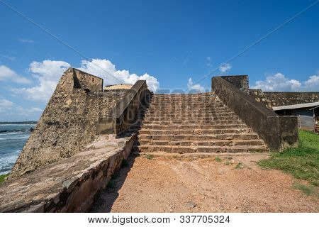Old Staircase Leading Up To Ramparts Of The Dutch Galle Fort In Sri Lanka