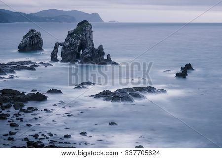 Rocky Coast Near San Juan De Gaztelugatxe. Vizcaya, Basque Country, Spain. View Of The Cantabrian Se