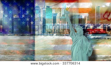 Modern art. New York with Statue of Liberty. 3D rendering