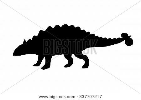 Vector Black Ankylosaurus Silhouette Dinosaur Isolated On White Background