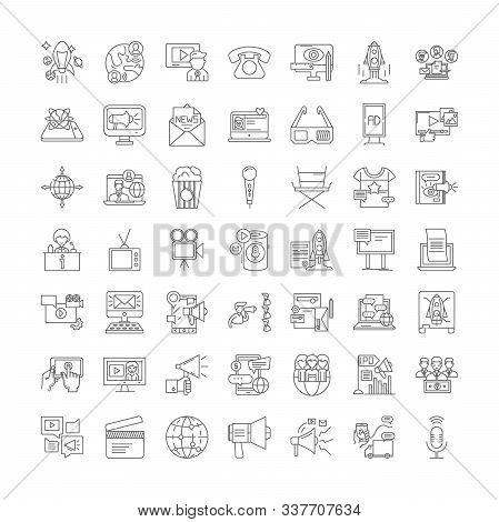 Mass Media Linear Icons, Signs, Symbols Vector Line Illustration Set