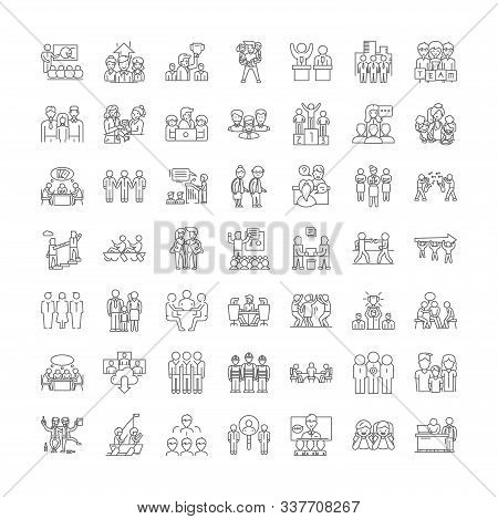 Membership Linear Icons, Signs, Symbols Vector Line Illustration Set