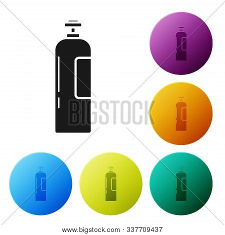 Black Industrial Gas Cylinder Tank For All Inert And Mixed Inert Gases Icon Isolated On White Backgr