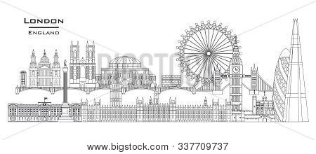 Vector Line Art Illustration Of Landmarks Of London, England. London City Skyline Panoramic Vector I