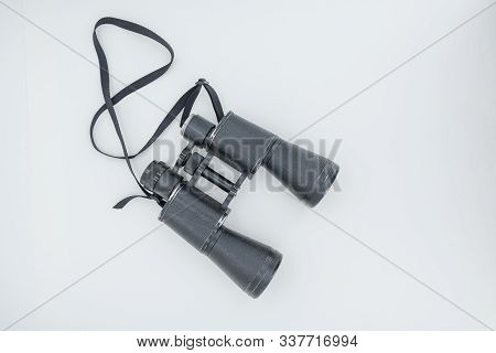Binoculars On A White Background. Antique Binoculars. Binoculars