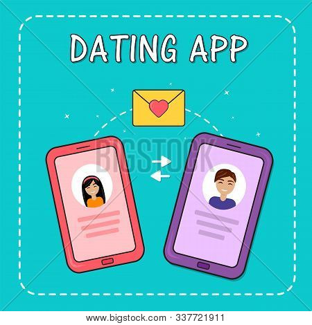Dating Smartphone App Concept. Valentines Day Holiday. Flat Style Smartphone With Boy, Girl And Mail