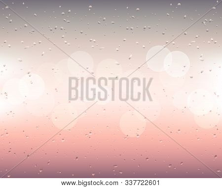 Drops And Trickles Of Water On The Glass. Raindrops On A Blurred Window Background With Bokeh. Morni