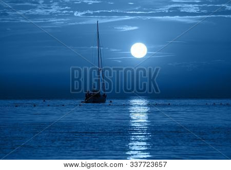 Beautiful Night Sea, Yacht And Full Moon. Night Classic Blue Seascape. Trendy Banner With Color Of T