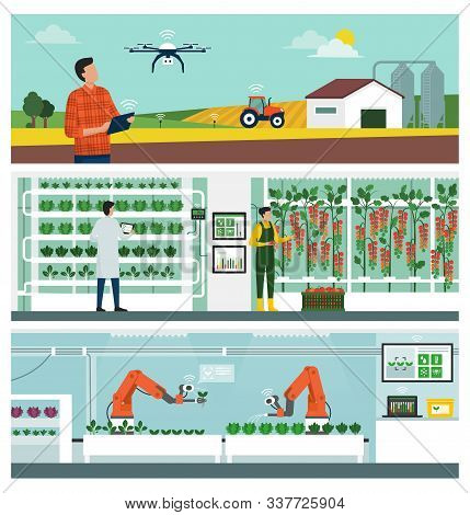Smart Agriculture And Iot Technology: Industrial Farm Management, Vertical Hydroponics Farming And A