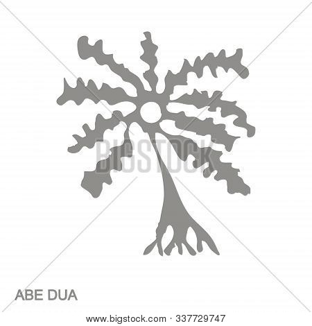 Vector Monochrome Icon With Adinkra Symbol Abe Dua