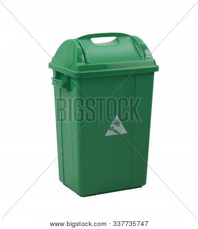 Green Trash Bin For Organic Garbage Isolated On White Background