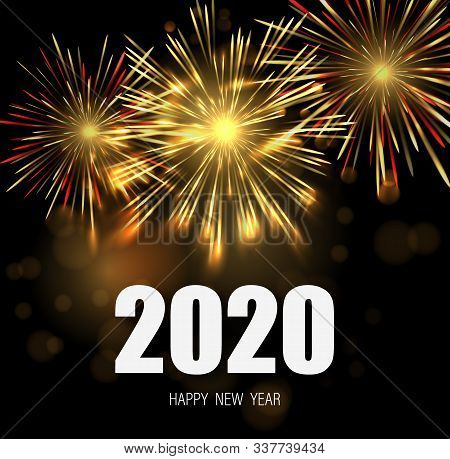 Happy New Year Greeting Card With 2020 Numbers And Fireworks Series. Celebratory Template With Reali