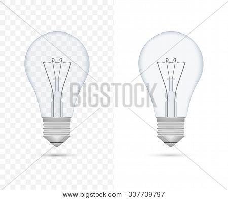 Realistic Transparent Light Bulb. Lamp, Incandescent Bulb. Vector Stock Illustration.