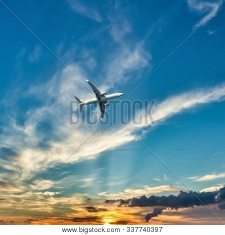 Square Photo Of Big Airplane Above Kos Island. Plane Is Captured From Boath Before Landing. Sky Is W