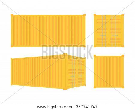 Yellow Shipping Cargo Container Twenty And Forty Feet. For Logistics And Transportation. Vector Stoc