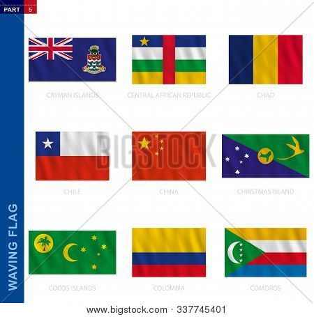 Waving Flag Collection In Official Proportion. 9 Vector Flags: Cayman Islands, Central African Repub
