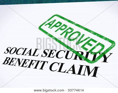Social Security Claim Approved Stamp Showing Social Unemployment Benefit Agreed poster