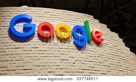 COLOGNE, SEPTEMBER 2019: Google logo on a wall at the DMEXCO trade fair