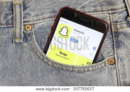 Los Angeles, California, Usa - 5 December 2019: Snapchat App Icon On Phone Screen In Blue Jeans Pock