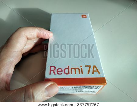 Turin, Piedmont, Italy. December 2019. The Packaging Of The Xiaomi Redmi7a Model. Close-up Image Of