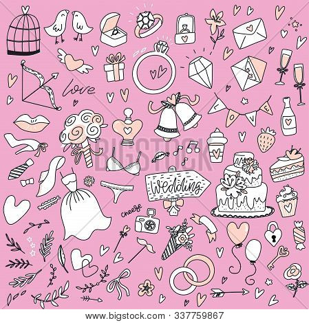 Outlined Hand Drawn Doodle Set Of Objects On The Wedding Theme. Wedding Symbols Collection: Acquaint