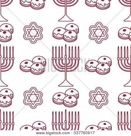 Happy Hanukkah. Jewish Holiday Vector Seamless Pattern With Traditional Chanukah Symbols Menorah Can