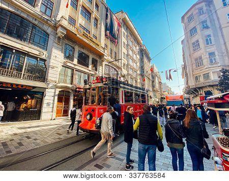 Old Tram Istiklal Avenue In Istanbul, Turkey November 2, 2019. Nostalgic Red Tram In Taksim Istiklal