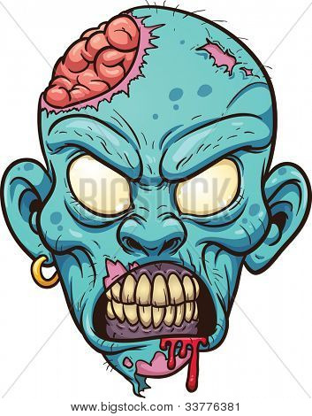 Cartoon zombie head. Vector illustration with simple gradients. All in a single layer.