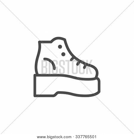 Orthopedic Shoes Line Outline Icon Isolated On White. Medical Orthotic Footwear. Comfortable Walking