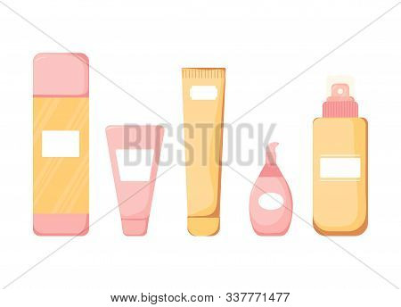 Collection On Flat Style. Skincare, Makeup Bottle Cosmetics Icon. Beauty Woman Face Nature Cosmetic