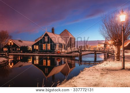 Zaanstad, Netherlands, January 30, 2015:  Cheese Farm On The Zaans Schans In Winter Located On The R