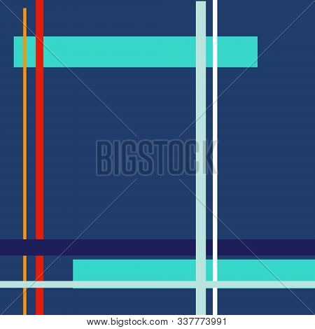 Geometric Square Classic Blue Background With Colorful Yellow Saffron, Flame Scarlet, Biscay Green L