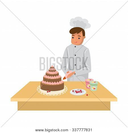 Man Cook Decorating Freshly Baked Cake With Cream Vector Illustration